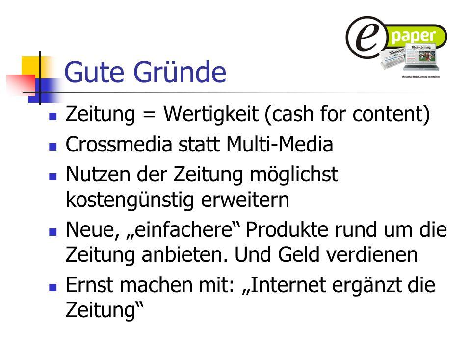 Gute Gründe Zeitung = Wertigkeit (cash for content)