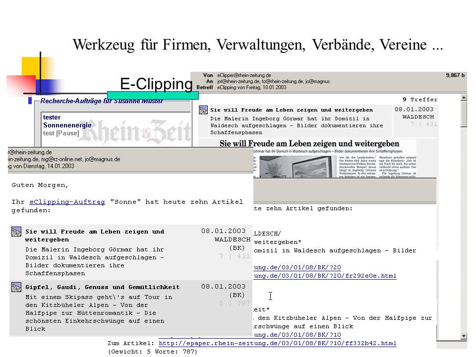 Werkzeug für Firmen, Verwaltungen, Verbände, Vereine ...