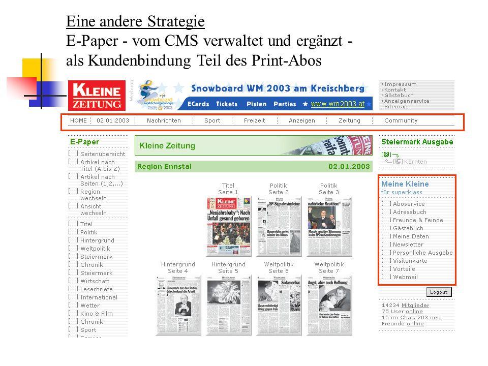 Eine andere Strategie E-Paper - vom CMS verwaltet und ergänzt - als Kundenbindung Teil des Print-Abos.