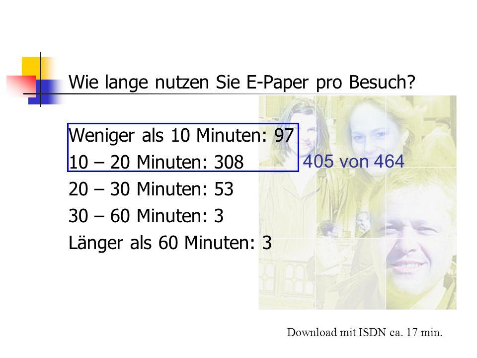 Wie lange nutzen Sie E-Paper pro Besuch Weniger als 10 Minuten: 97