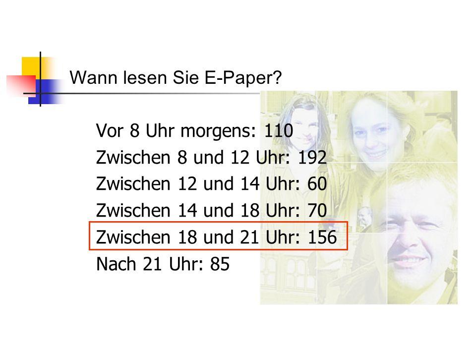 Wann lesen Sie E-Paper Vor 8 Uhr morgens: 110. Zwischen 8 und 12 Uhr: 192. Zwischen 12 und 14 Uhr: 60.