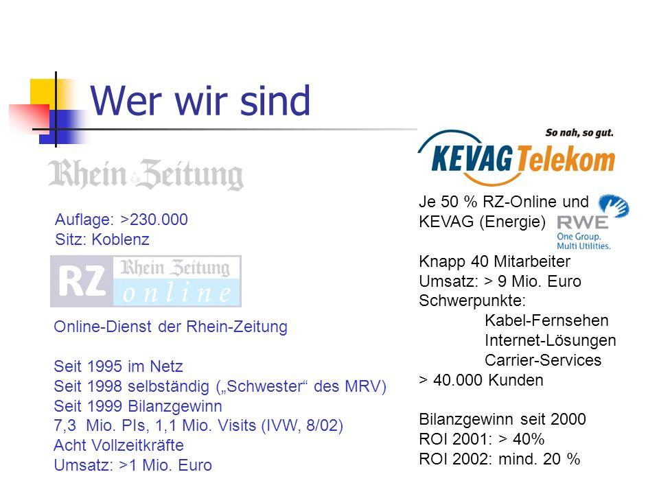 Wer wir sind Je 50 % RZ-Online und KEVAG (Energie)