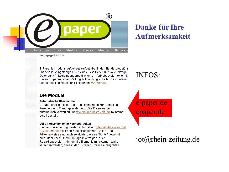 ® Danke für Ihre Aufmerksamkeit INFOS: e-paper.de epaper.de