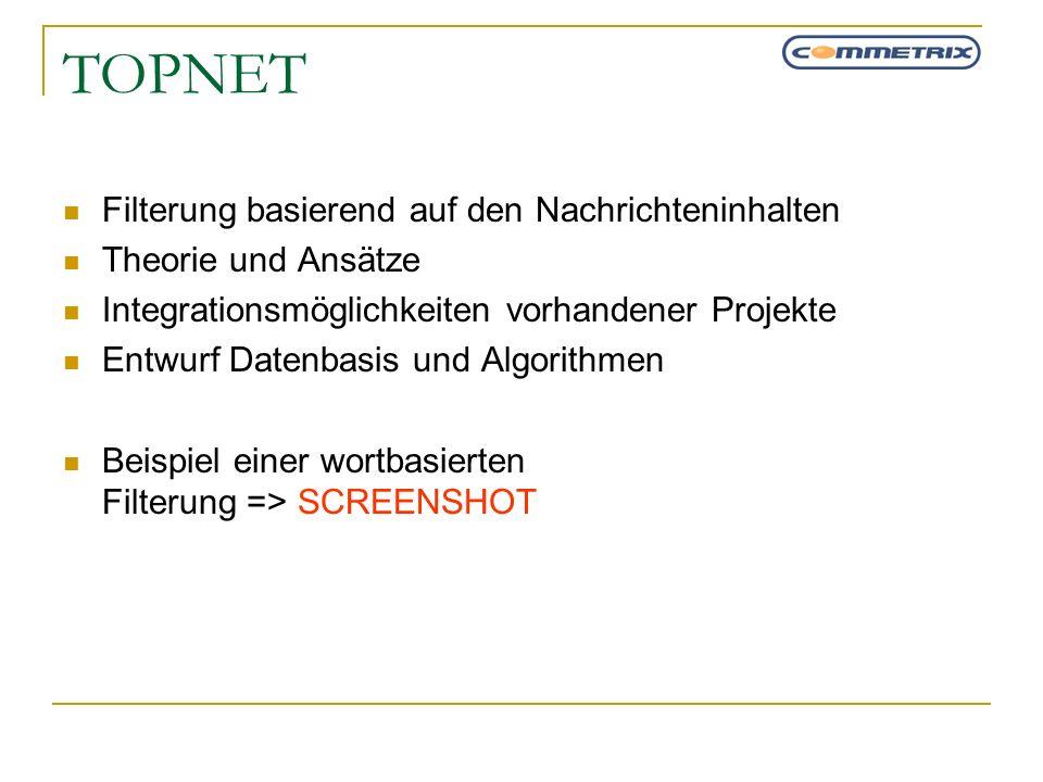 TOPNET Filterung basierend auf den Nachrichteninhalten