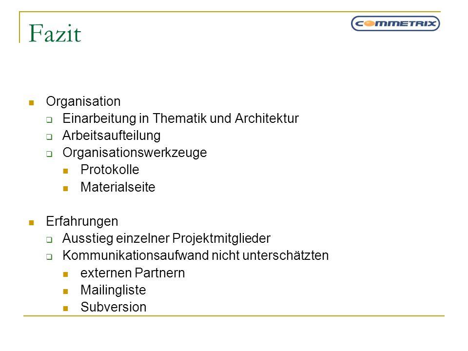 Fazit Organisation Einarbeitung in Thematik und Architektur