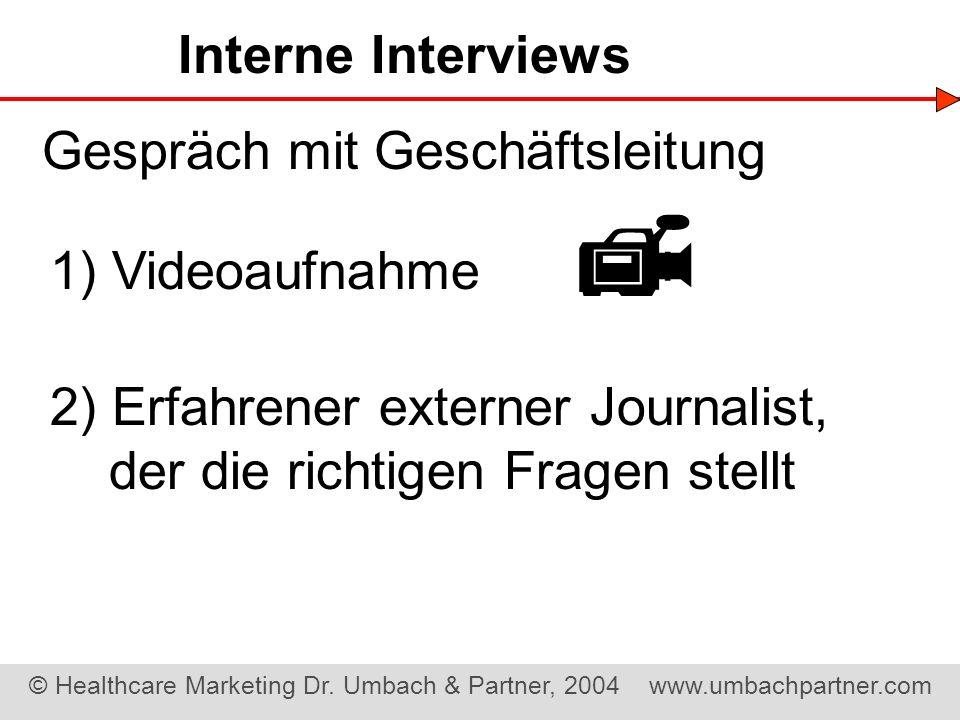  Interne Interviews Gespräch mit Geschäftsleitung 1) Videoaufnahme