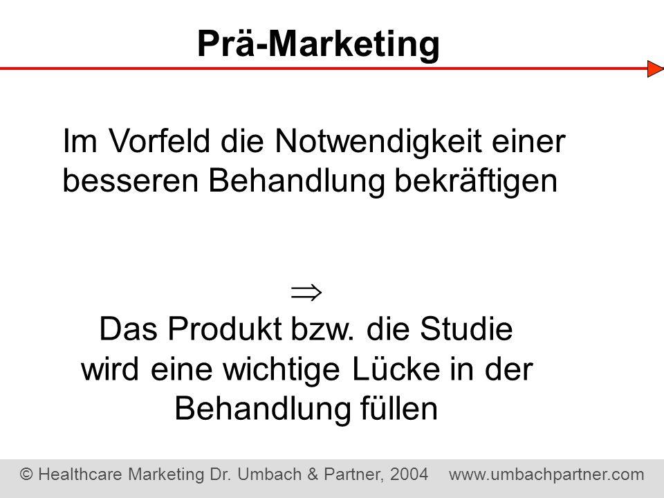 Prä-Marketing Im Vorfeld die Notwendigkeit einer besseren Behandlung bekräftigen.  Das Produkt bzw. die Studie.