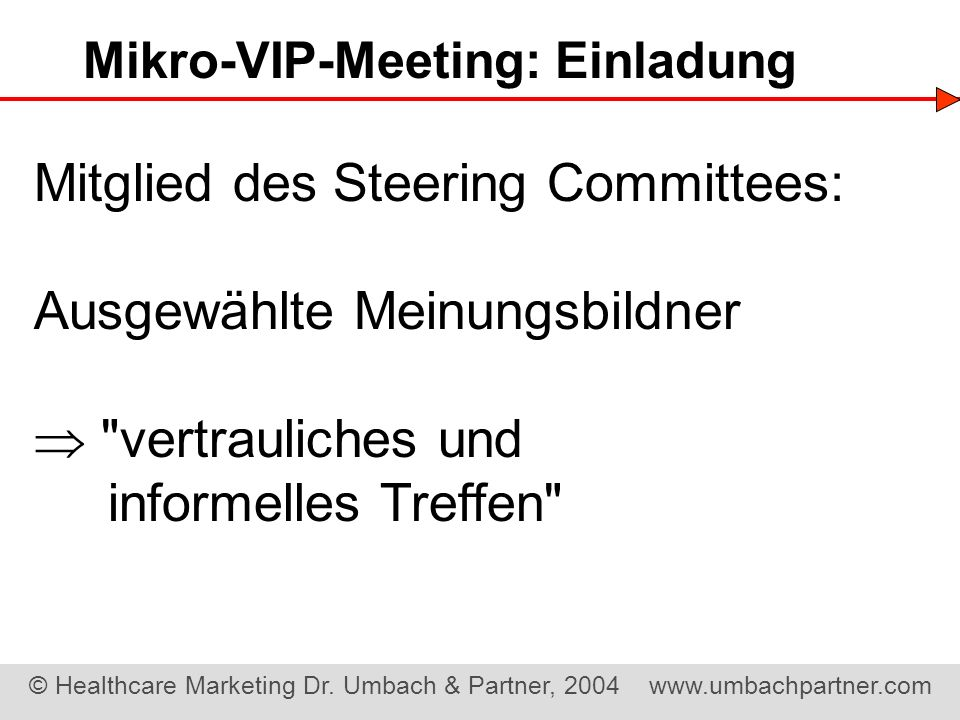 Mikro-VIP-Meeting: Einladung