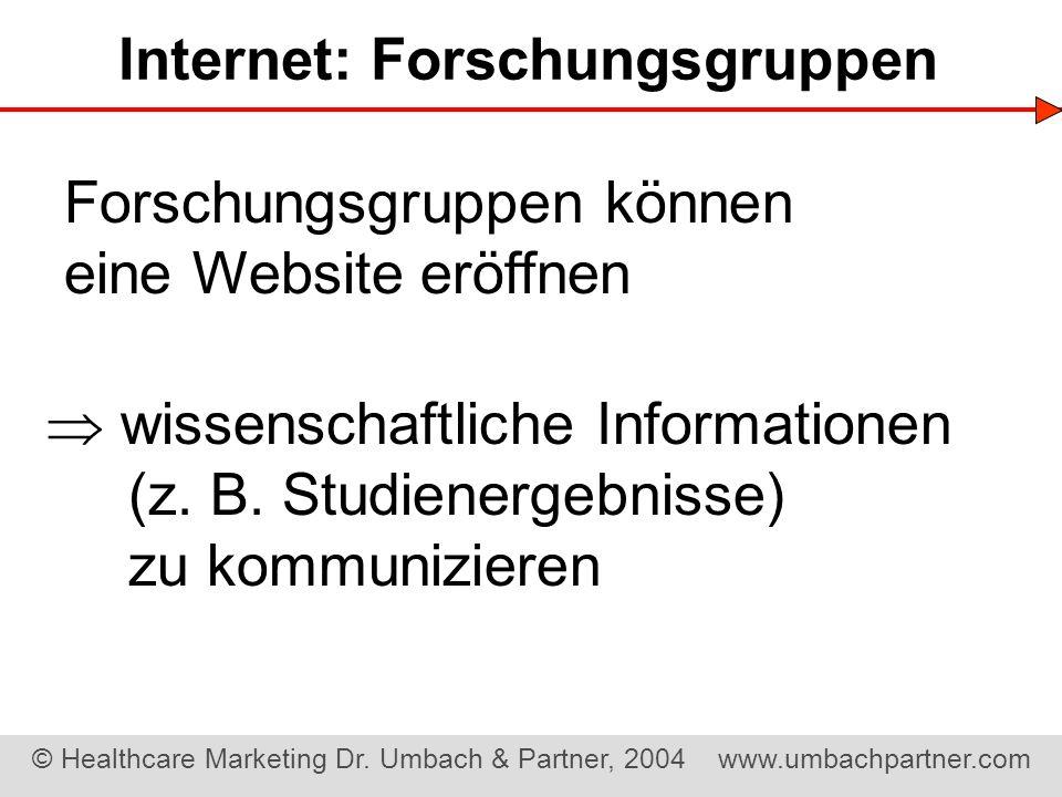 Internet: Forschungsgruppen