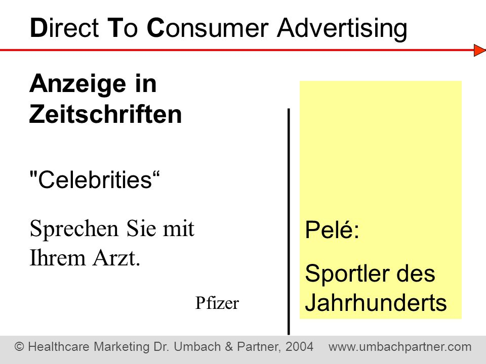 ——————— Direct To Consumer Advertising Anzeige in Zeitschriften Pelé:
