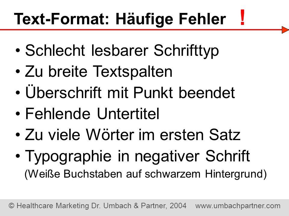 Text-Format: Häufige Fehler