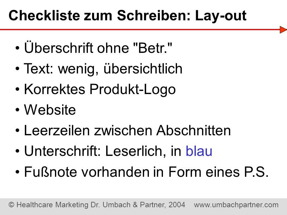 Checkliste zum Schreiben: Lay-out