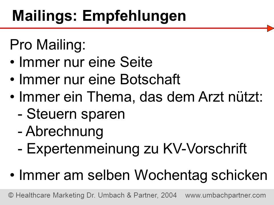 Mailings: Empfehlungen