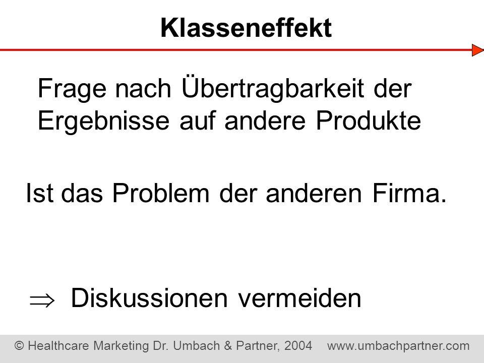 Klasseneffekt Frage nach Übertragbarkeit der Ergebnisse auf andere Produkte. Ist das Problem der anderen Firma.