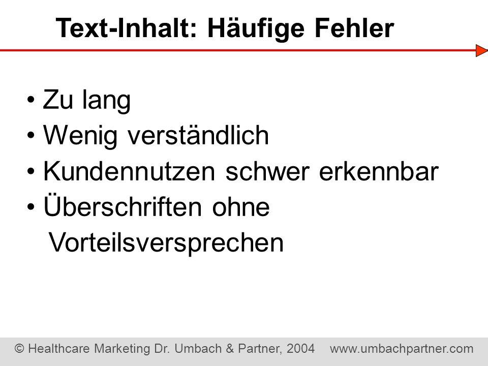Text-Inhalt: Häufige Fehler