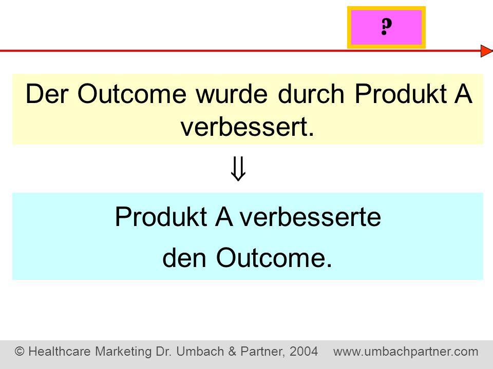 Der Outcome wurde durch Produkt A verbessert.