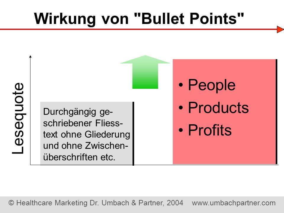 Wirkung von Bullet Points