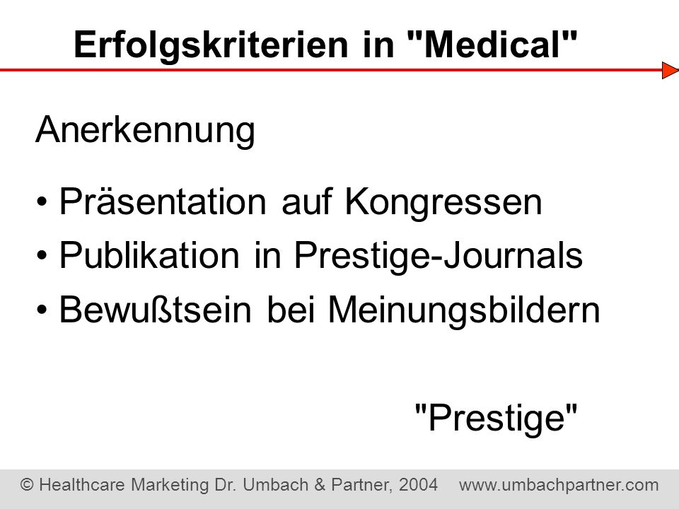 Erfolgskriterien in Medical