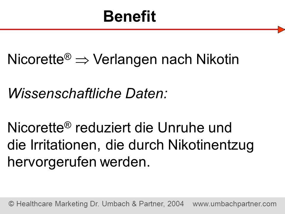 Benefit Nicorette®  Verlangen nach Nikotin Wissenschaftliche Daten:
