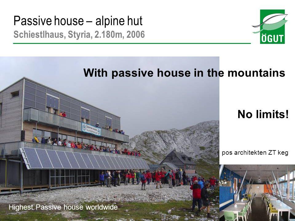 Passive house – alpine hut Schiestlhaus, Styria, 2.180m, 2006