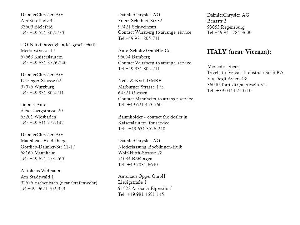 ITALY (near Vicenza): DaimlerChrysler AG Am Stadtholz 35