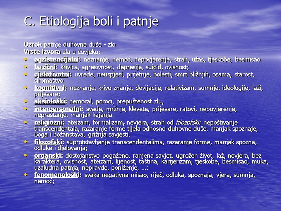 C. Etiologija boli i patnje