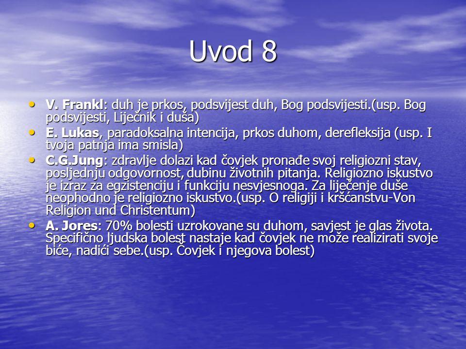 Uvod 8 V. Frankl: duh je prkos, podsvijest duh, Bog podsvijesti.(usp. Bog podsvijesti, Liječnik i duša)
