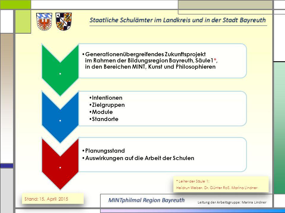 . Generationenübergreifendes Zukunftsprojekt im Rahmen der Bildungsregion Bayreuth, Säule1*, in den Bereichen MINT, Kunst und Philosophieren.