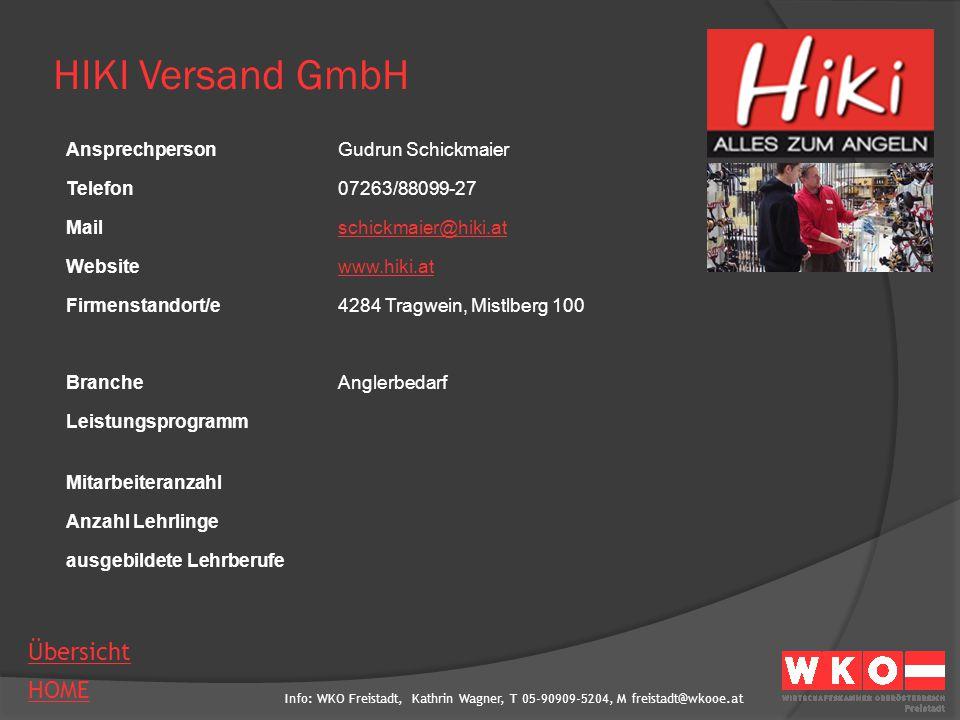 HIKI Versand GmbH Ansprechperson Gudrun Schickmaier Telefon