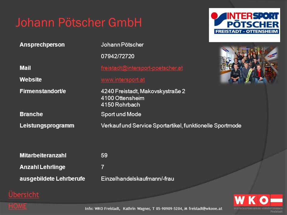 Johann Pötscher GmbH Ansprechperson Johann Pötscher 07942/72720 Mail