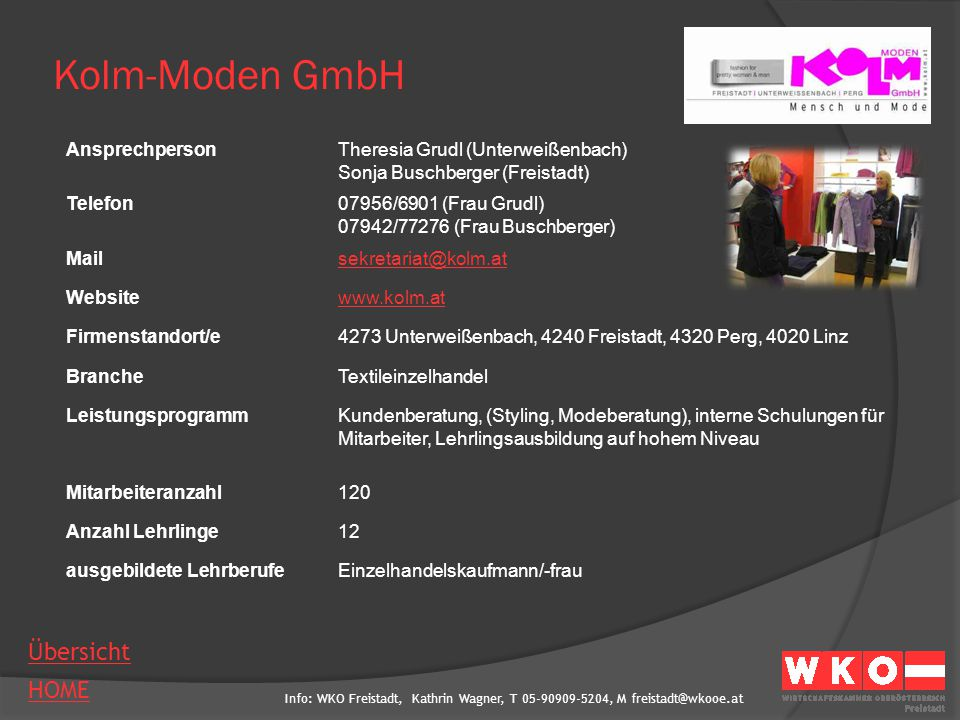Kolm-Moden GmbH Ansprechperson Theresia Grudl (Unterweißenbach)