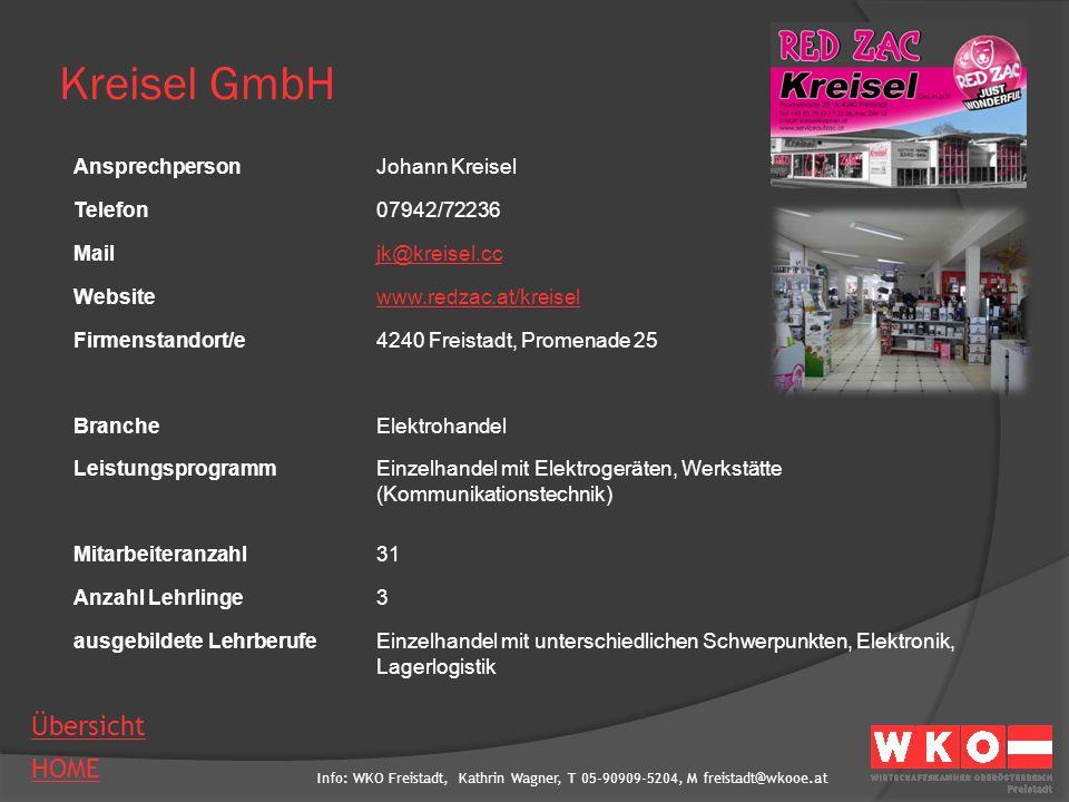 Kreisel GmbH Ansprechperson Johann Kreisel Telefon 07942/72236 Mail