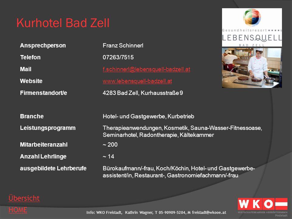 Kurhotel Bad Zell Ansprechperson Franz Schinnerl Telefon 07263/7515