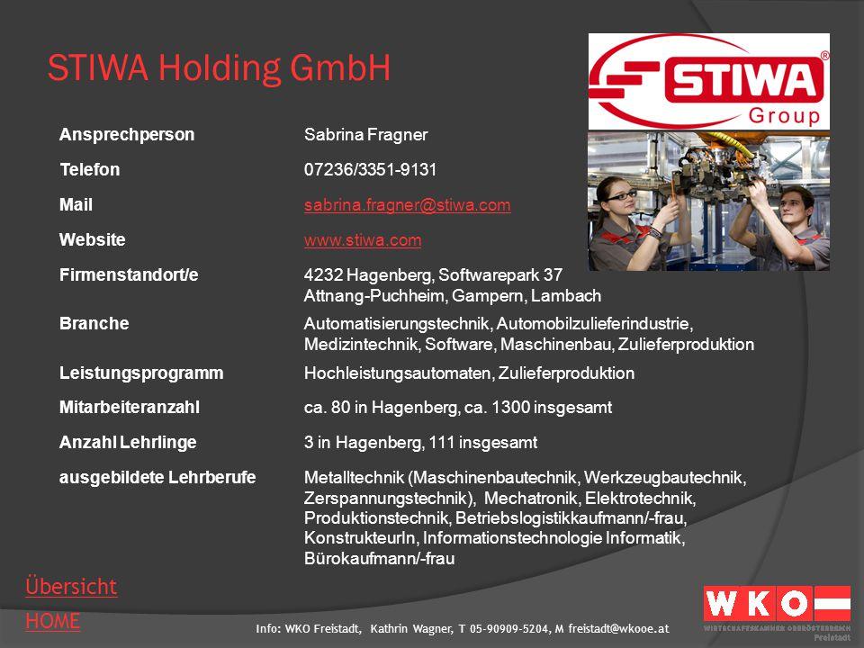 STIWA Holding GmbH Ansprechperson Sabrina Fragner Telefon