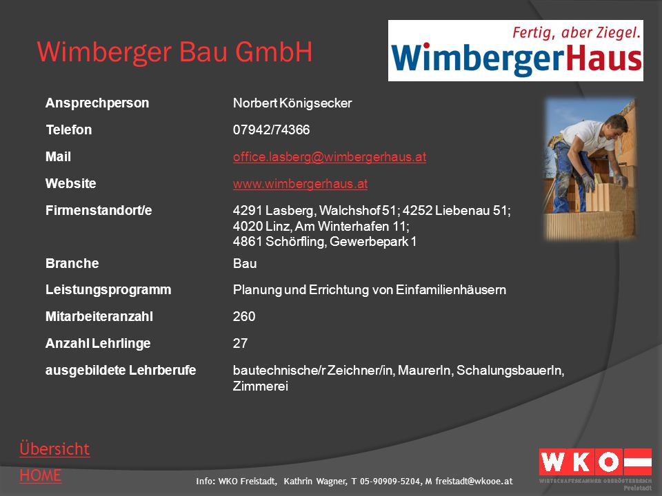 Wimberger Bau GmbH Ansprechperson Norbert Königsecker Telefon