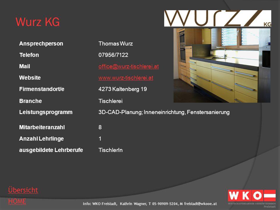 Wurz KG Ansprechperson Thomas Wurz Telefon 07956/7122 Mail