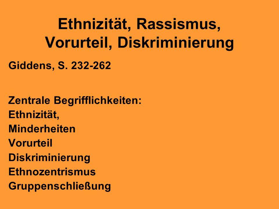 Ethnizität, Rassismus, Vorurteil, Diskriminierung