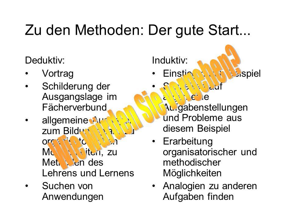 Zu den Methoden: Der gute Start...