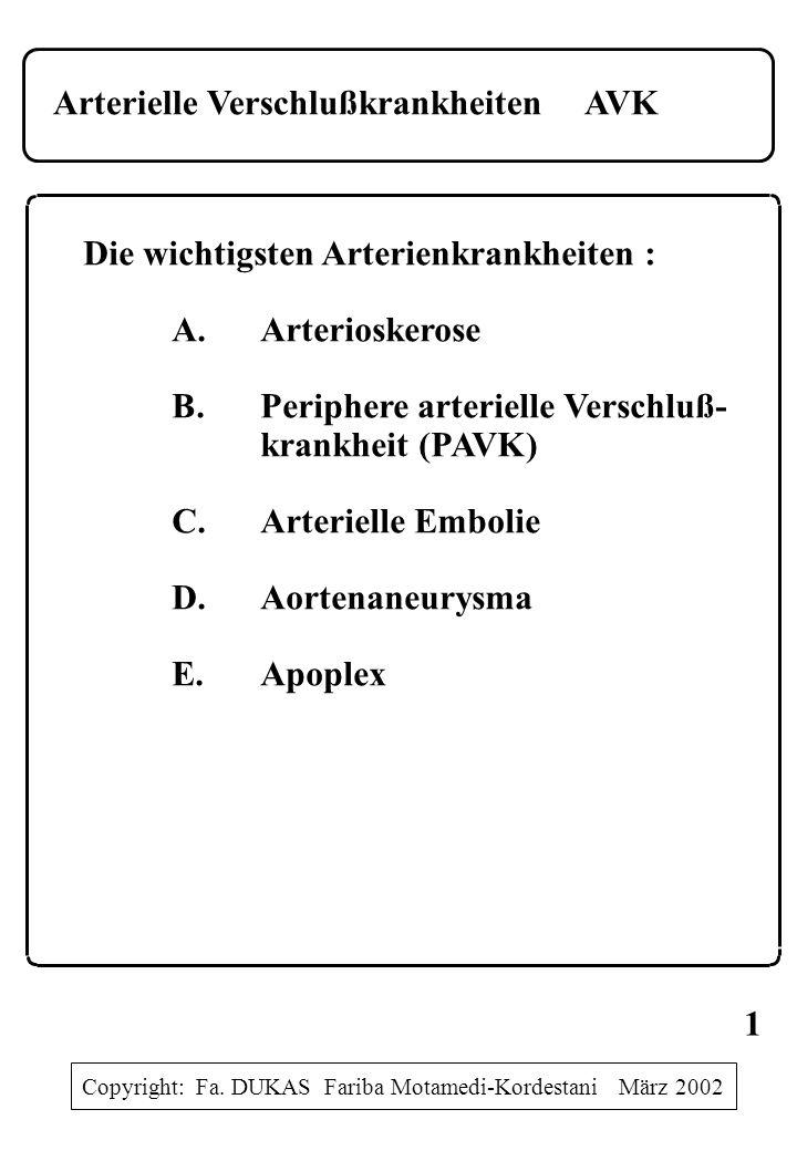 Arterielle Verschlußkrankheiten AVK