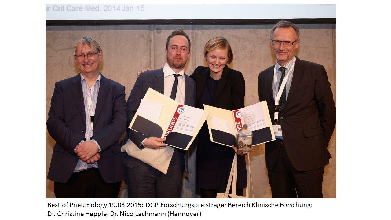 Best of Pneumology 19.03.2015: DGP Forschungspreisträger Bereich Klinische Forschung: