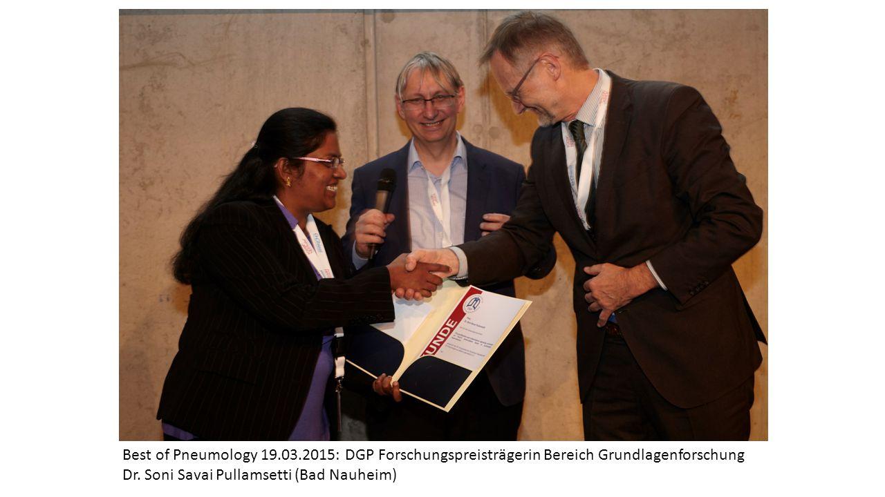 Best of Pneumology 19.03.2015: DGP Forschungspreisträgerin Bereich Grundlagenforschung Dr.