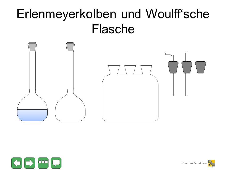 Erlenmeyerkolben und Woulff'sche Flasche