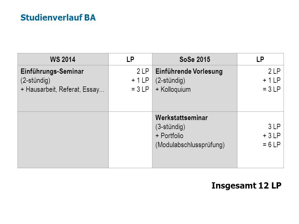 Studienverlauf BA Insgesamt 12 LP WS 2014 LP SoSe 2015