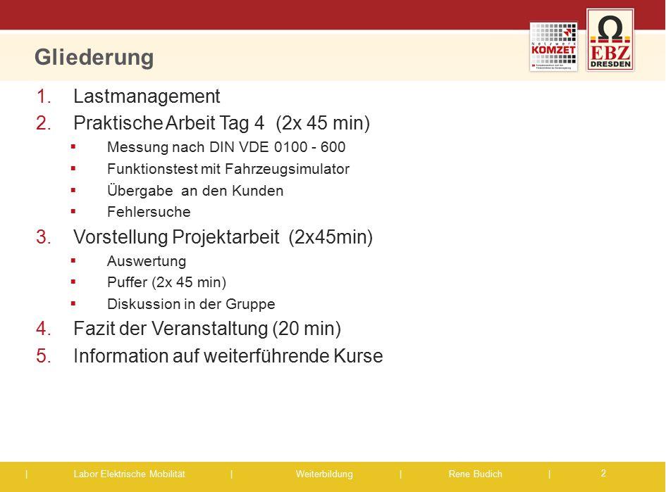 Gliederung Lastmanagement Praktische Arbeit Tag 4 (2x 45 min)