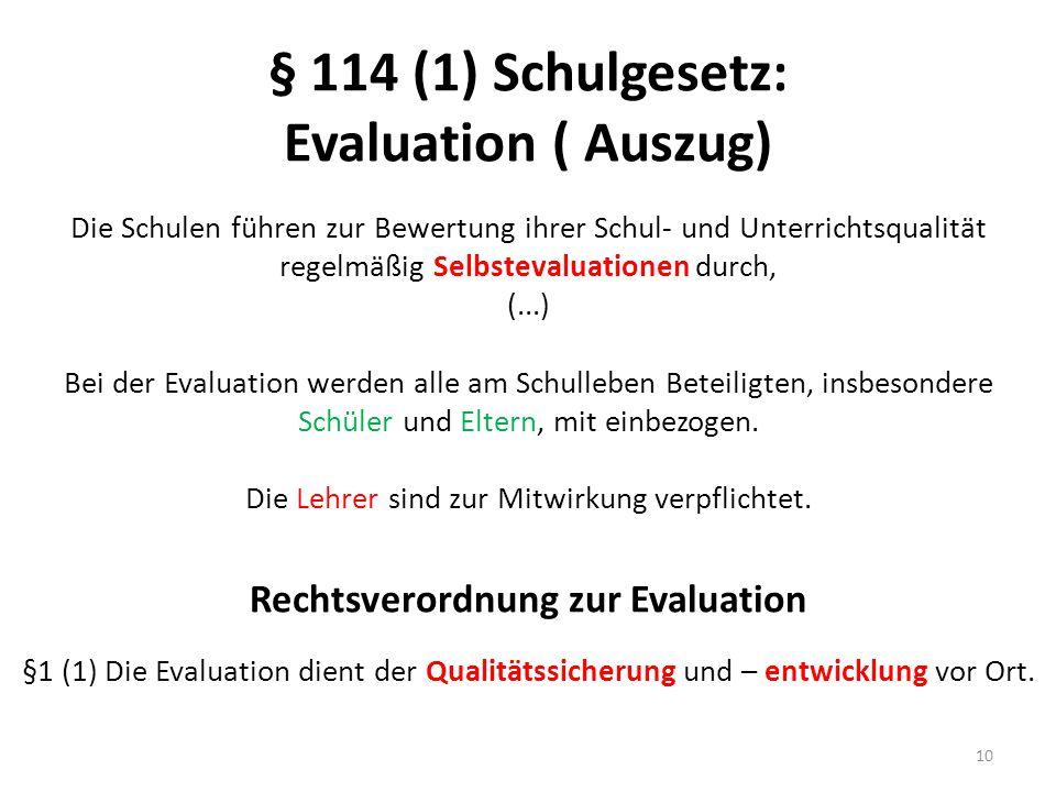 § 114 (1) Schulgesetz: Evaluation ( Auszug) Die Schulen führen zur Bewertung ihrer Schul- und Unterrichtsqualität regelmäßig Selbstevaluationen durch, (...) Bei der Evaluation werden alle am Schulleben Beteiligten, insbesondere Schüler und Eltern, mit einbezogen.
