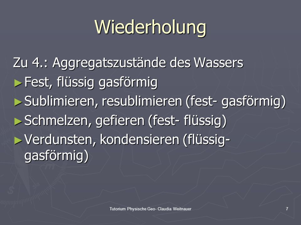 Tutorium Physische Geo- Claudia Weitnauer