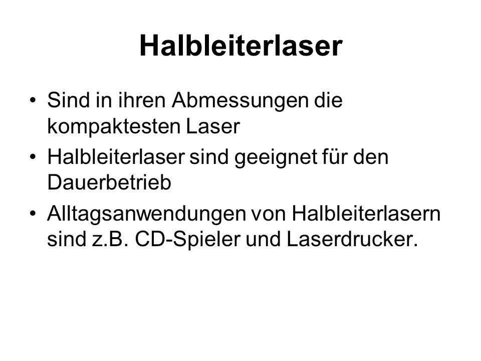 Halbleiterlaser Sind in ihren Abmessungen die kompaktesten Laser