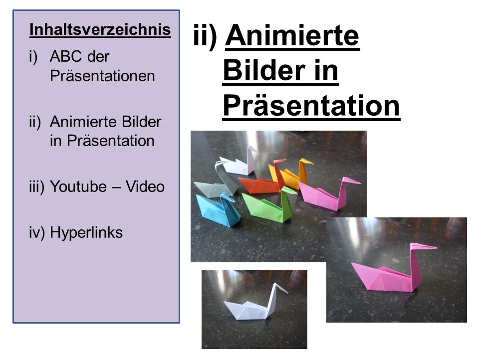 ii) Animierte Bilder in Präsentation