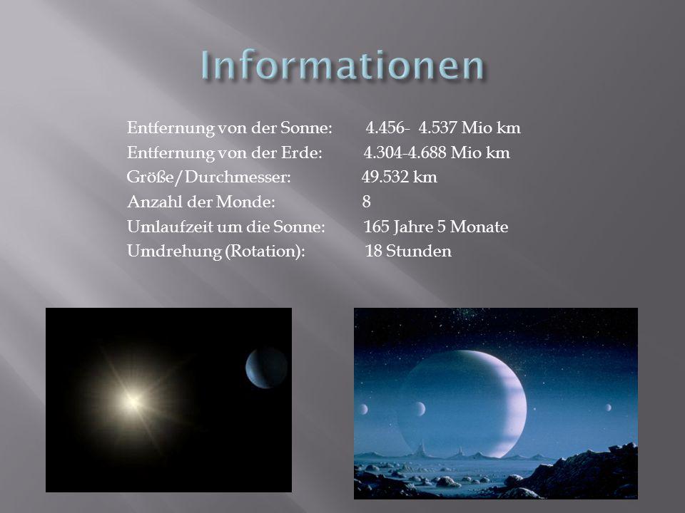Informationen Entfernung von der Sonne: 4.456- 4.537 Mio km