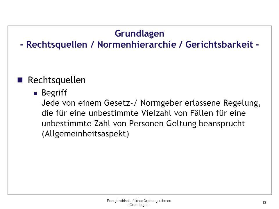 Grundlagen - Rechtsquellen / Normenhierarchie / Gerichtsbarkeit -